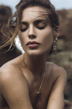Gold Hoop Loop & Stone Earrings