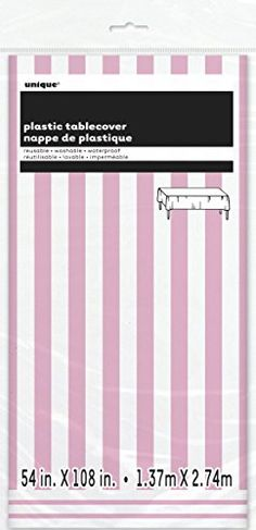 Striped Plastic Tablecloth 108 x 54 Light Pink >>> Read more reviews of the product by visiting the link on the image. (This is an affiliate link)