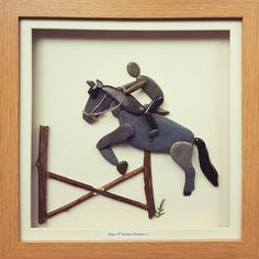 This pebbleart was made to cheer up a very horsey lady after an accident...get well soon! #horselover #horsjumping #showjumping #stables #ilovehorses #horseriding #pebbleartists #newbusiness #welshhorses #bespoke #bespokepresents #madeinwalesuk #commisionedartwork #beachstones #beachcombing #boxframeart