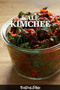 Sunhui Chang's kale kimchi, which he serves at FuseBox in Oakland, CA, is a modern twist on a classic, unfermented kimchi.
