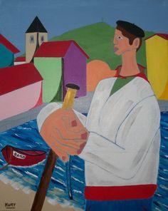 promenade portuaire (Painting),  30x40 cm par Didier Dordeins tableau acrylique  40x30 cm chassis toile finitions vernis pièce unique signé