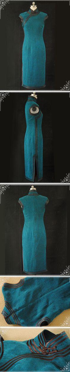 blue qipao