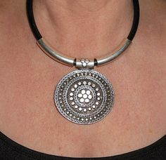 Silver statement necklace silver pendant by BohoChicGypsyJewelry Silver Jewelry Box, Metal Jewelry, Silver Necklaces, Beaded Jewelry, Jewelry Necklaces, Boho Hippie, Bohemian Jewelry, Leather Necklace, Leather Jewelry