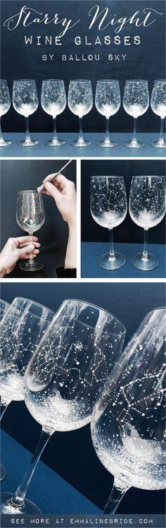 Starry Night Wine Glasses | #ballousky #birthsign #constellation #nightsky #romantic #star #starrynight #wineglasses #zodiac | star wine glasses