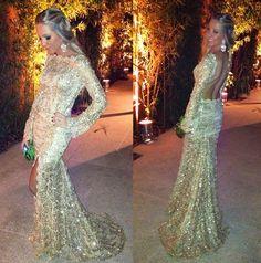 Fabulous Agilita vestido de festa dourado manga longa