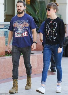 Shia LaBeouf goes on a romantic stroll with girlfriend Mia Goth #dailymail