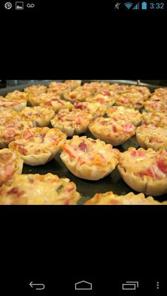 Rotel Cups Makes: 45 cups Ingredients: 1 Can rotel tomatoes, drained (almost all the way) 1 bag bacon pieces 1 cup shredded swiss 1 cup Mayo 3 pkg. phyllo pastry cups – thawed  Directions: Preheat oven to 350 degrees F.  Mix the first 4 ingredients and scoop evenly into the cups. Place on baking sheet and cook at 350 for 15 min.