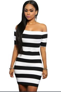 898bceaeac31 Off shoulder dress 2017 casual black and white striped dress summer bodycon  mini dress sexy club wear vestidos de fiesta