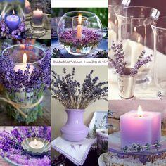 Candles and lavender. Lavender Cottage, Lavender Scent, Lavender Fields, Lavender Flowers, Pretty Flowers, Lavender Candles, Candle Centerpieces, Wedding Centerpieces, Wedding Table