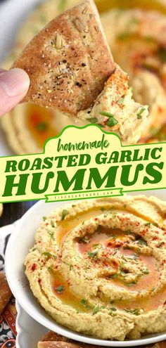 A healthy 4th of July food idea! This creamy homemade Roasted Garlic Hummus is a more filling and more satisfying party food than store-bought tubs. Served with pita chips or veggies, this easy… Dip Recipes, Real Food Recipes, Yummy Recipes, Snack Recipes, Roasted Garlic Hummus, Delicious Hummus Recipe, Delicious Food, Yummy Appetizers, Homemade Pita Chips