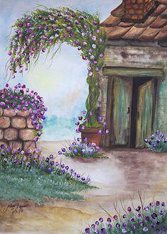 Original watercolor painting The door.11x14