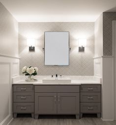 I love this look for the bathroom upstairs gray vanity small mirror with two sconces patterned wallpaper