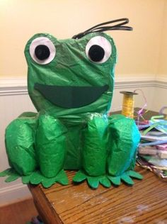 How to Make a Frog #Pinata Tutorial - Great for a Princess Tiana Birthday Party.