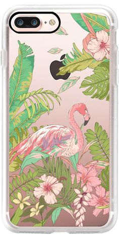 Casetify iPhone 7 Plus Case and other Flamingos iPhone Covers -  Jungle Floral Flamingo by Ruby Ridge Studios | Casetify