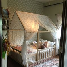 Montessori Floor Bed With Rails Full or Double Size Floor Bed Hardwood INCLUDES SLATS is part of House frame bed 641654478 All Natural Appalachian Hardwood provides generations of value benefits for - Girls Bedroom, Baby Bedroom, Bedroom Decor, Girl Nursery, House Frame Bed, Montessori Bed, Montessori Toddler Bedroom, Little Girl Rooms, Little Girls
