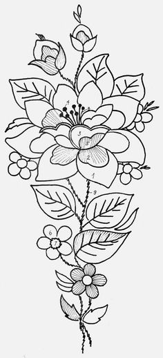 Japanese Embroidery Flowers Mustrilaegas: B Tikkimine / Bordado Embroidery Designs, Embroidery Transfers, Crewel Embroidery, Hand Embroidery Patterns, Ribbon Embroidery, Cross Stitch Embroidery, Machine Embroidery, Snowflake Embroidery, Vintage Embroidery