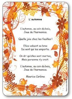 French Language Basics, French Language Learning, Rhyming Activities, Autumn Activities, Maurice Careme, French Poems, French Classroom, Teaching French, Autumn Art