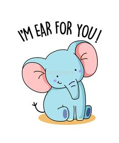 'I'm Ear For You Animal Pun' by punnybone - Funny food puns - Funny Food Puns, Punny Puns, Cute Puns, Funny Puns For Kids, Funny Pranks, Happy Sunday Quotes, Morning Quotes, Funny Morning, Weekend Quotes
