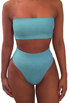 620934deb8 LOV ANNY Women's Cheeky Tube Thong 2PCS Bikini Set Padded High Waisted  Swimsuits Cute Swimsuits,