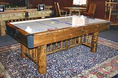Air Hockey Table ... Too rustic and light colored wood.