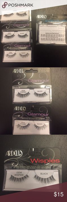 """Ardell False Lashes 3 pairs of Ardell """"Demi Wispies"""" false lashes & 1 package of 28 Ardell individual lashes in """"Flare Medium Black."""" All NIB. I used the other 28 individual lashes that came in the package. The package of individual lashes has some dried lash glue on the packaging but NOT on the lashes - please see 4th pic. The """"Demi Wispies"""" look slightly different from each other, and I'm not sure why that is - please see pictures. ❌ trades, please. Ardell Makeup False Eyelashes"""