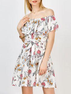Floral A Line Off The Shoulder Dress in White | Sammydress.com