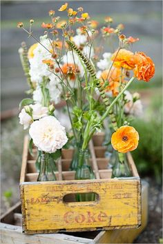 Vintage Coke crate centerpiece display idea #ShareaCoke