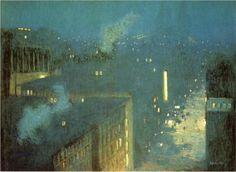 """The Bridge Nocturne"" - (oil on canvas, c.1910). Queensboro Bridge, NYC. ~ American Gilded Age artist: Julian Alden Weir (1852-1919). ~ {cwlyons} ~ (Image/holding: Hirshhorn Museum and Sculpture Garden)"