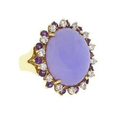Lavender Jade and Diamond and Amethyst Ring