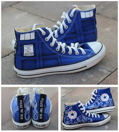 "I designed and painted these over the weekend… my brand new TARDIS Converse! It took me 11 hours, but it was totally worth it. The inside Gallifreyan reads: ""Nice to meet you Rose Tyler""…..""now run for your life""."