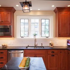 with white backsplash…Cherry Cabinets Kitchen Design Ideas, Pictures, Remodel and Decor with white backsplash…Cherry Cabinets… Cherry Wood Kitchen Cabinets, Cherry Wood Kitchens, Best Kitchen Cabinets, Rustic Cabinets, Kitchen Cabinet Design, Kitchen Redo, New Kitchen, Kitchen Makeovers, Kitchen Units