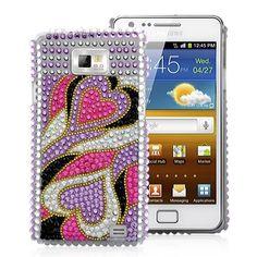 Heart Rhinestone Diamond Case Cover For Samsung Galaxy - Light Purple Galaxy S2, Samsung Galaxy, Map Marker, Light Purple, Color Splash, Markers, Cases, Messages, Diamond