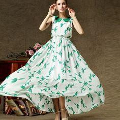 Green Leaves Doll Collar Elastic Waist Chiffon Long Dress