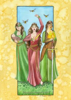 Brigid by PickledPixie on DeviantArt. Goddess of nature-lore/herbalism, the hearth, childbirth/mid-wifery/fertility, areas of 'high-intellect' such as inspiration, poetry & wisdom, and of fire & forge...