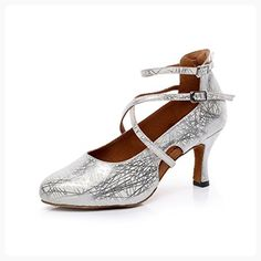 "CXS Women's Pumps Ballroom Dance Shoes with 2.75"" Heel,Silver PU,11 B(M) US (*Partner Link)"