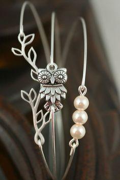 Silver Bracelet Silver Bangle Owl Bracelet  Pearl by ...