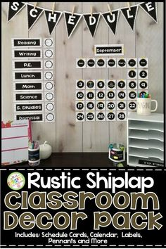 This rustic shiplap classroom decor will create a calm and crisp farmhouse classroom feel for you Classroom Setting, Classroom Setup, Classroom Design, Future Classroom, Classroom Organization, Classroom Décor, Science Classroom, Organizing, Rustic Decor