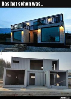 Luxury Container House Located South Korea - Living in a Container This house looks almost like a traditional brick house. This house has a different exterior surface than the container frame. Small House Design, Modern House Design, Building A Container Home, Container Buildings, Container Architecture, Sustainable Architecture, Tiny Container House, Storage Container Houses, Container Home Plans