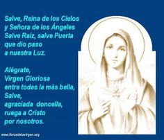 """#ORACIÓN """"Salve, Reina de los Cielos y Señora de los Ángeles, Salve Raíz, Salve Puerta, que dio paso a nuestra Luz. Alégrate, Virgen gloriosa, entre todas la más bella, Salve, agraciada doncella, ruega a Cristo por nosotros."""