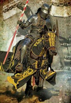 Cavaleiro e sua armadura para torneio ou guerra - Idade Média