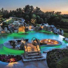 Backyard Pool Landscaping, Backyard Pool Designs, Swimming Pools Backyard, Swimming Pool Designs, Backyard Waterfalls, Landscaping Ideas, Backyard With Pool, Inground Pool Designs, Swimming Ponds