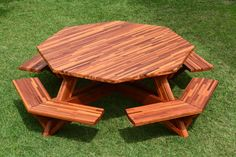 Octagonal Picnic Table (Options: 6' Diameter Tabletop, Attached Benches, Mosaic…