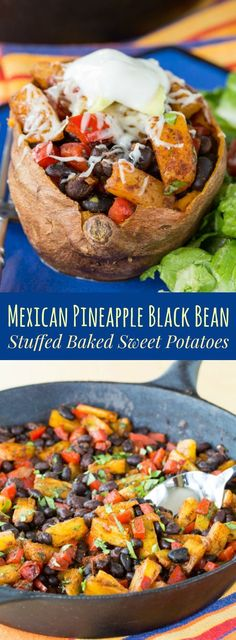 Mexican Pineapple Black Bean Stuffed Baked Sweet Potatoes - a healthy, meatless, gluten-free dinner, perfect for Cinco de Mayo! {vegan option} #meatless #vegan #healthy