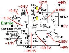 ampli ultra simple a schema 2 Electronics Projects, Electronic Circuit Projects, Electronic Kits, Electronic Schematics, Electronics Components, Electronic Engineering, Simple Circuit, Ab Circuit, Tesla Free Energy