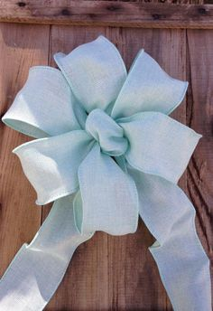 Burlap bows Pastel light Aqua Mint Green Bow ribbon Chair Pew burlap look wedding gift bows garland spring summer decoration