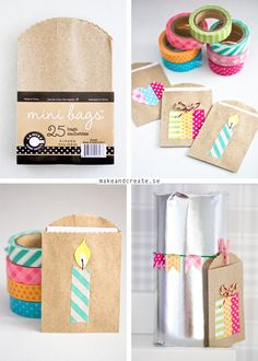 Little kraft gift bags decorated with washi tape - very cute