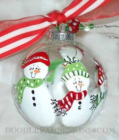 Looove these snowman family ornaments