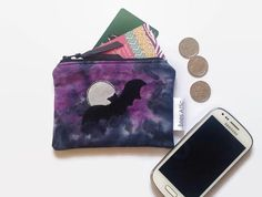 Coin Purse Bat Moon Purple and Black Credit Card by BeesAttic