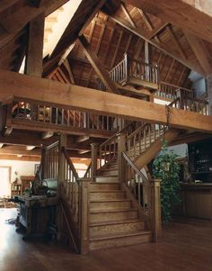 Timber Frame House - Custom Staircase