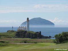 Turnberry Lighthouse and Ailsa Craig, South Ayrshire, Southwestern Scotland Curling Stone, Holiday Places, Famous Landmarks, Medieval Castle, Sea Birds, Le Moulin, 16th Century, Great Britain, Monument Valley